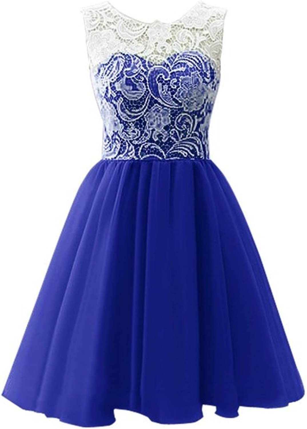 CCBubble Lace Homecoming Dresses O Neck Short Graduation Party DressRoyal bluee8