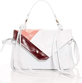 Genuine and leather hand and shoulder bag, elegant casual, medium, white. 100% Made in Italy