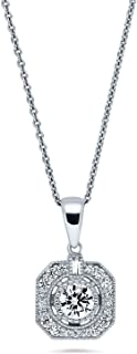 BERRICLE Rhodium Plated Sterling Silver Cubic Zirconia CZ Art Deco Wedding Pendant Necklace
