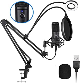 USB Podcast Microphone Kit, NASUM 192KHZ/24BIT Plug & Play Condenser Microphone with Sound Card, Volume Knob and LED Ring Light for Gaming, Recording, Voiceover, and YouTube