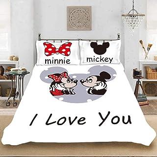 XZHYMJ Disney Mickey Minnie - Juego de Funda nórdica y Funda de Almohada con Digital 3D de Microfibra de Mickey Minnie, Ropa de Cama de Microfibra 100% para niños,2pcs-A05_Solo 135x200cm-2 Piezas