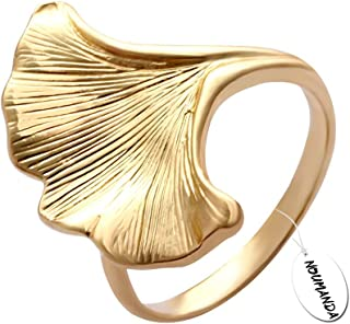 NOUMANDA Golden Ginkgo Leaf Ring,Inspired by Nature Finger Ring Women Jewelry