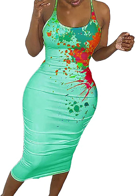 Sun Dresses Women Summer Women Fashion Print Color Halter Fishnet Round Neck Dress Sexy Long Dress Casual Sexy Boho