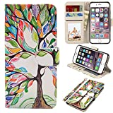 UrSpeedtekLive iPhone 6s Case, iPhone 6 Case, Premium PU Leather Funny Pattern Flip Wallet Case Cover w/Card Slots & Stand Compatible iPhone 6/6s 4.7 Inch, Love Tree