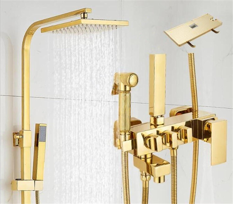 FFJTS Dusche Golden Square Badezimmer hei und kalt Dusche Wasserhahn Badezimmer Set , A