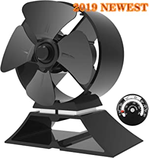KINDEN Mini Wood Burning Stove Fan 4-Blade 5.2 Inch Height for Small Place Eco-Friendly with Stove Thermometer (Aluminium Black, Mini Size)