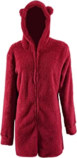 Missfamo Ladies Cute Long Sleeve Sleepwear Fleece Hooded Cozy Sherpa Romper Fluffy Pajamas Short