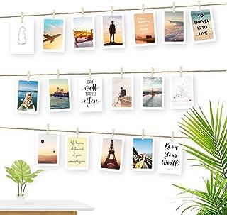 """Ecooe Linka do zdjęć do kreatywnej i pięknej dekoracji """"zrób to sam"""" ramka na zdjęcia 3 metry linka na zdjęcia z 30 mini d..."""