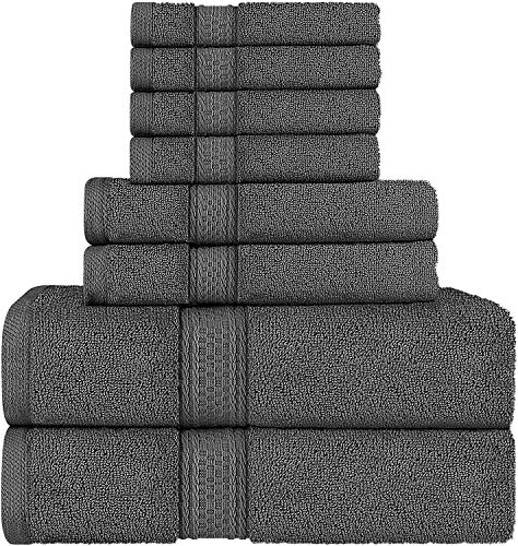Utopia Towels - Towels Set, Grey - 2 Bath Towels, 2 Hand Towels, and 4 Washcloths, 600 GSM Ring Spun Cotton Highly Absorbent Towels for Bathroom, Shower Towel (8 Pieces)
