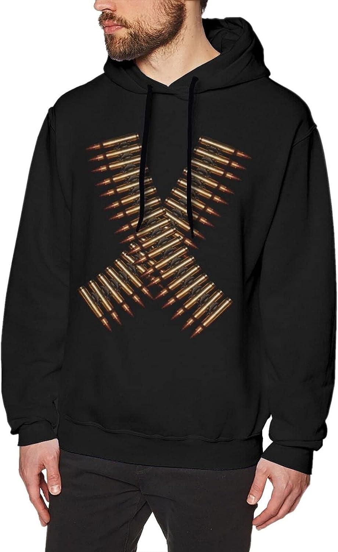 Bandolier Crossed Bullet Belts Hoodies For Men Fashion Cotton Sweatshirts Black