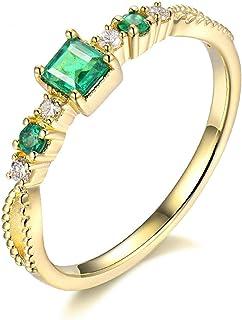 Daesar Anelli Donna Fidanzamento Oro Giallo 18K, Anello Solitario Smeraldo 0.4ct Anelli Fidanzamento Donna Oro