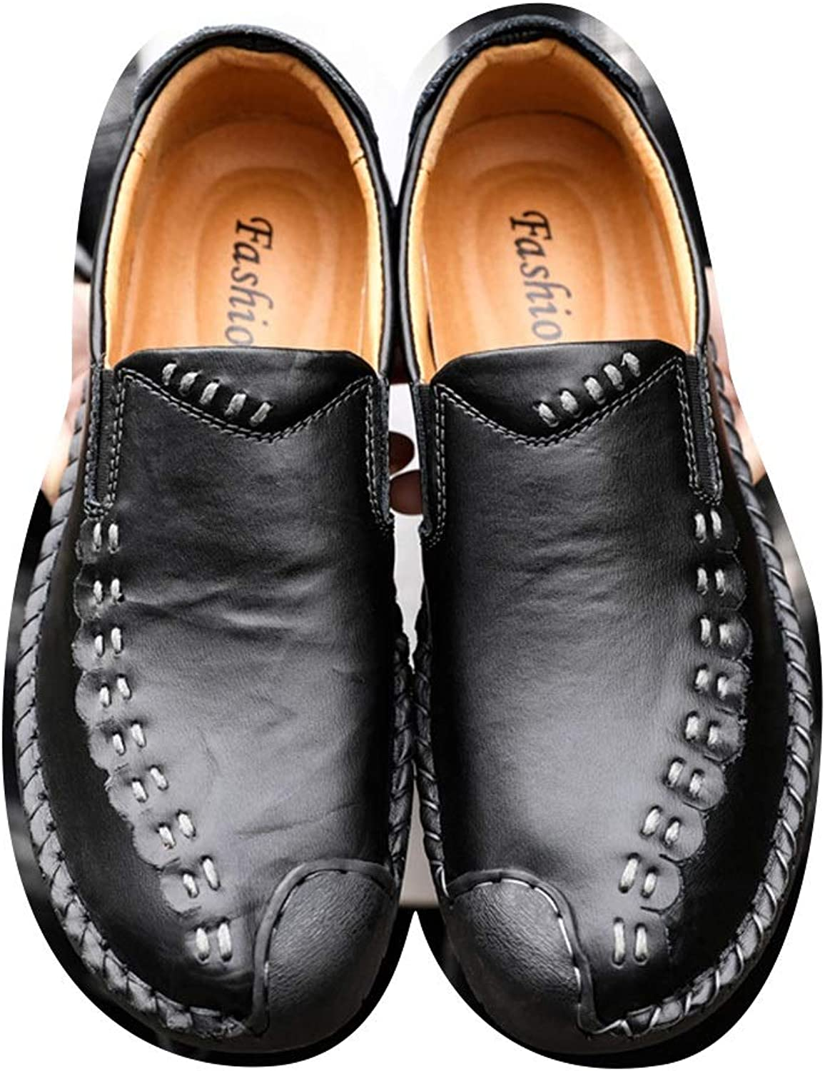 Men's Leather Cowhide Men's shoes Loafers Leather shoes Casual shoes Men's Trend Peas shoes Cricket shoes (color   Black, Size   45)