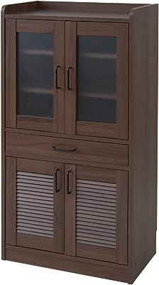 山善 食器棚(幅60 高さ120 奥行35) ブラウン ECCB-1260