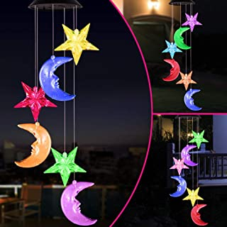 Color Changing Stars and Moon Solar Wind Chimes Lights Portable Waterproof Mobile Romantic Windchime LED Solar Star and Mo...