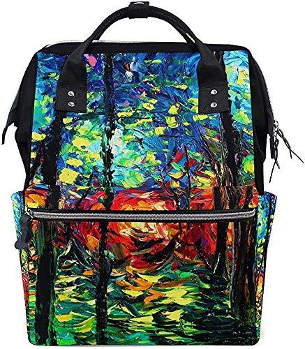 Backpack olieverfschilderij bosverzorging grotere capaciteit druk rugzak luiertas mummierugzak baby waterdicht stijlvolle mama papa mummie tas luier muti-functie reistas