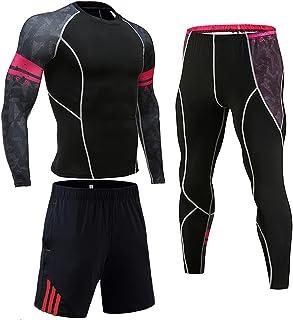بدلة رياضية ضاغطة للرجال ملابس رياضية رياضية للركض والجري (اللون: وردي، المقاس: S)