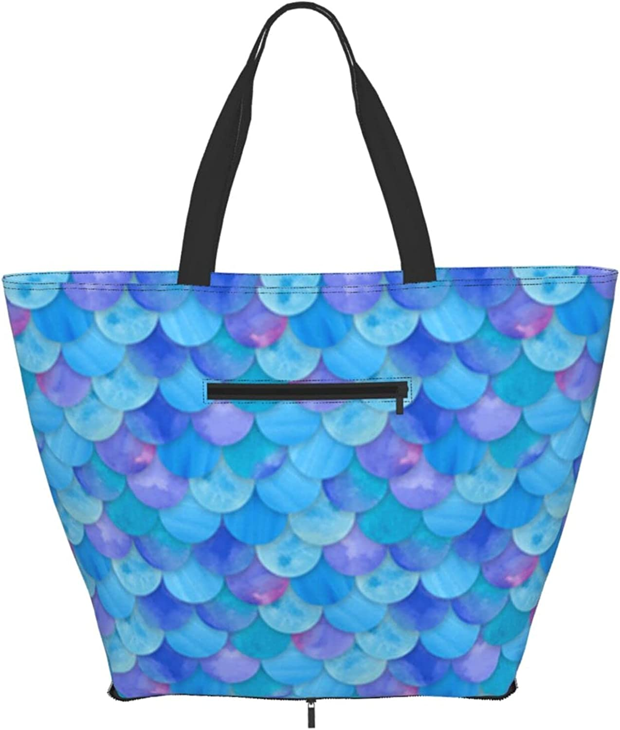 Animer and price revision Shoulder Tote Bag Geometric Blue Handle Top 67% OFF of fixed price Purse Mermaid Scales