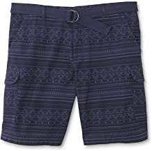 Northwest Territory Men's Big & Tall Belted Cargo Shorts (Tribal Blue, 46)