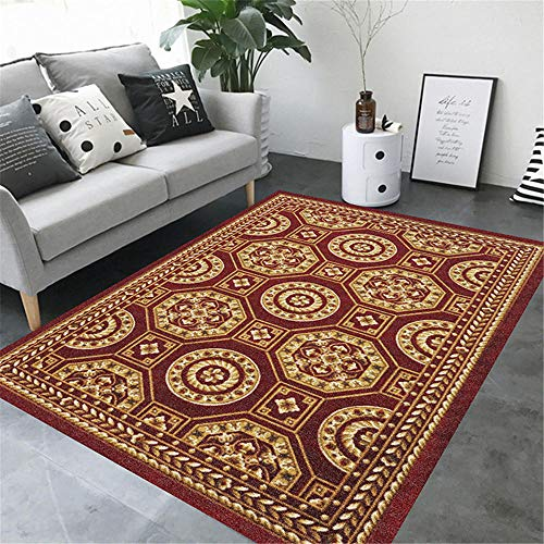 WQ-BBB Alfombra De Diseño Moderna a Prueba de Polvo Estilo étnico Tradicional Rojo marrón alfombras Salon Modernas 200X300cm