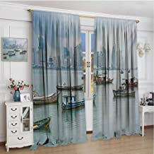 zojihouse Landscape Anchored Fishing Boats Skyscrapers Panama Cityscape Pacific Coast Central America Kids Customized Curtains Multicolor Noise Reducing Curtain W84xL96