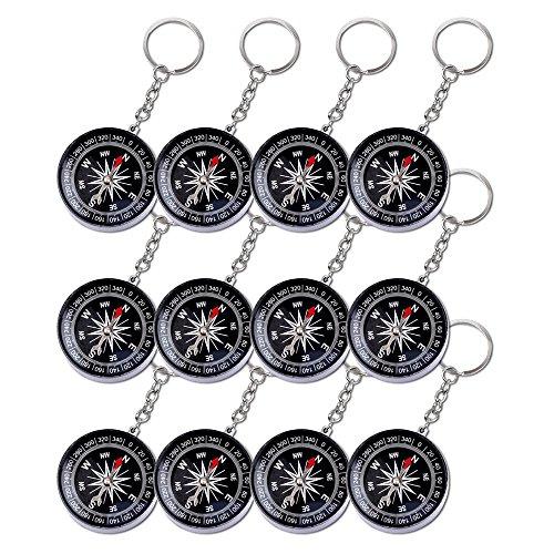 Schramm® 12 Stück Schlüsselanhänger Kompass mit Schlüsselkette Schlüsselring Anhänger Kindergeburtstag Mitgebsel Tombola Schlüssel Anhänger Schlüsselkette