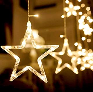 Nikolable LED Star Curtain String Lights, Waterproof Window Curtain Lights 12 Stars 138 LEDs with 8 Flash Modes Decoration Lights for Christmas Wedding Birthday Party Bedroom(Warm White)