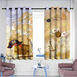 Mdxizc Thermal Insulated Drapes for Kitchen/Bedroom Island Map Vintage Treasure Hunt Printing Insulation W72 xL45 Suitable for Bedroom,Living,Room,Study, etc.