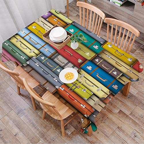 Tablecloth Rectangle Table Cloth Cotton Linen Wrinkle Free,Modern,Colorful Suitcases Background Vintage Travel Voyage Holiday Them,Tablecloths Washable Table Cover for Kitchen Dinning Party 140x200 cm