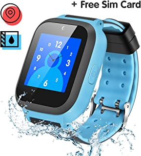 Kids Smart Watch, Enow IP67 Waterproof GPS/LBS Tracker Smartwatch with SOS Call Camera Alarm Activity 1.44'' Touch Screen SIM Card Slot Electronic Smartwatch for Android/iOS (Sim Card Included)