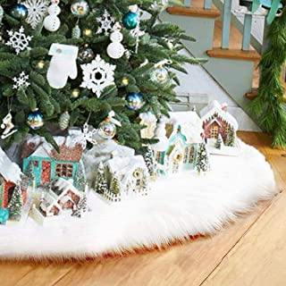 LITTLEGRASS 30/36/48/60in Christmas Tree Skirt White Faux Fur Luxury Soft Snow Tree Skirts for Xmas Holiday Decorations Pet Favors (White, 36