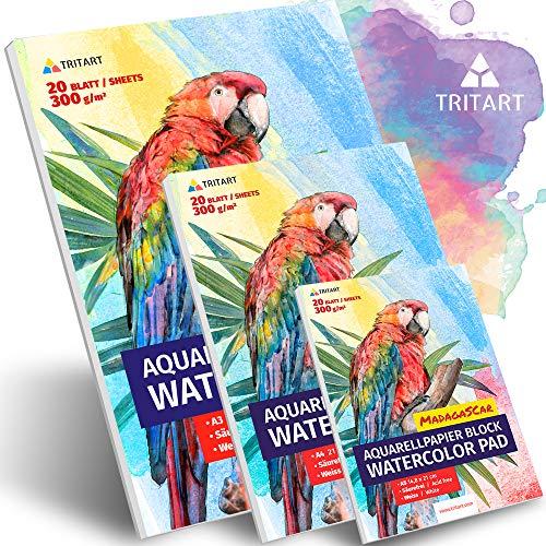 HOCHWERTIGES Aquarellpapier A4 A3 A5 Komplettset | 300g Weiß Aquarellblock Set | Jeweils 20 Blatt von Tritart