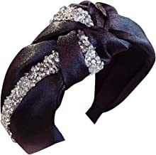 Eforstore Ms. Hard Head Bandwidth Hair Band Hairband Fabric Diamond Studs Middle Knotted Tie Bow
