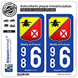 blasonimmat 2 Autocollants Plaque immatriculation Auto 986 Wallis-et-Futuna - Collector
