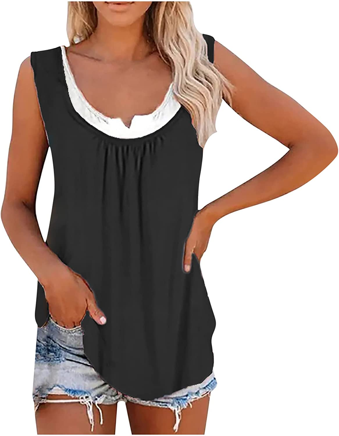 Women's Collision Fake Two Tops Summer Casual Loose Sleeveless Tank Top Splicing Classic Vest Tops Blouse
