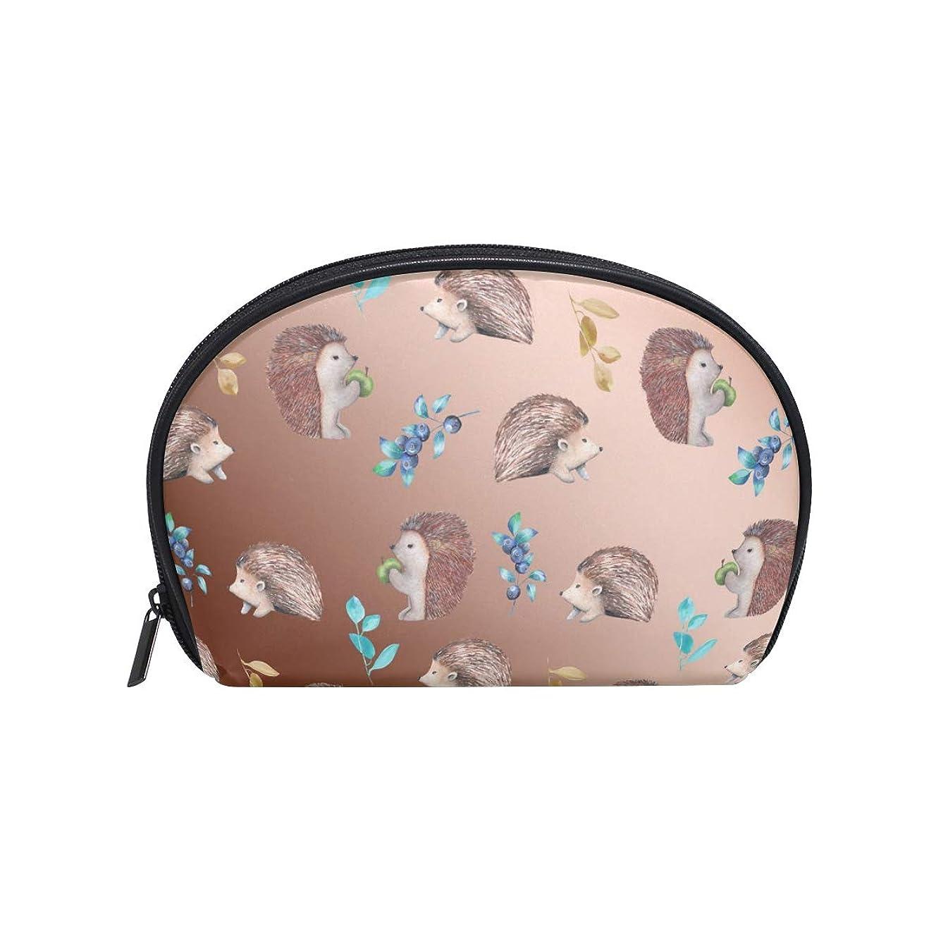 Half Moon Cosmetic Makeup Hedgehog Print Toiletry Bag Pouch Travel Handy Purse Organizer Bag for Women Girls