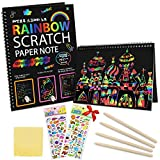 ZMLM Scratch Paper Art Notebooks - Rainbow Scratch Off Art Set for Kids Activity Color Book Pad Black Magic Art Craft Supplies Kits for Girls Boys Birthday Party Favor Game Christmas Toys Gift