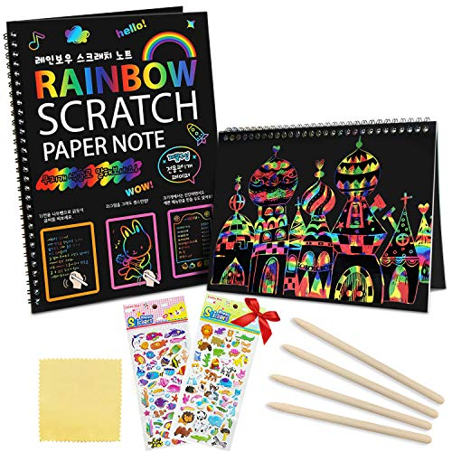 ZMLM Scratch Art Paper Notebooks - Rainbow Scratch Off Art Set for Kids Activity Color Book Pad Black Magic Art Craft Supplies Kits for Girls Boys Birthday Party Favor Game Christmas Toys Gift