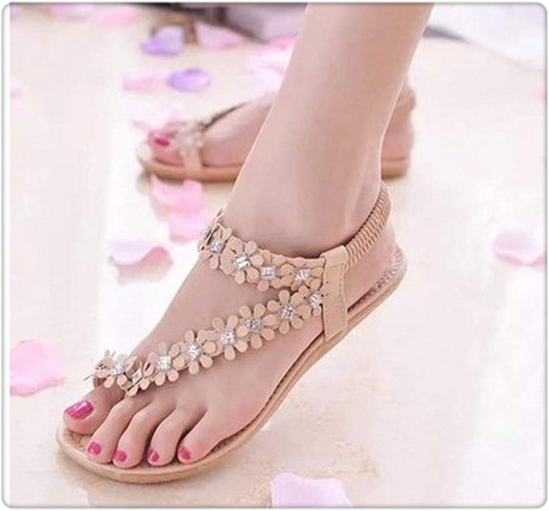 HROST& Women Fashion Bohemia Sandals Women's shoes Flower Casual Flats flip-Flop flip