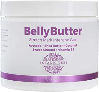 Botanic Tree Stretch Mark Cream for Pregnancy- Visible Results in 28 Days- Belly Butter Stretch Mark Removal w/ 100% Organic Avocado, Shea and Coconut Butter, Sweet Almond, Vit B5.