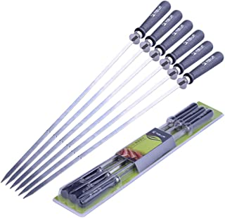 Goolsky Barbecue Skewer Grilling Kabob Reusable Metal Skewers Heavy Duty Stainless Steel BBQ Shish Kabob Tools for Hot Dog...