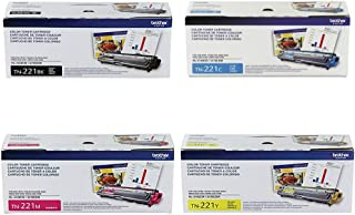 Brother Genuine TN221BK, TN221C, TN221M, TN221Y Color Laser Black, Cyan, Magenta and Yellow Toner Cartridge Set
