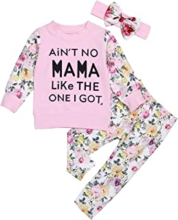 Yoveme Toddler Baby Girls Sweatshirt Outfit Long Sleeve Printed Tops Floral Pants Set Fall Winter Clothes for Girls (Pink, 0-6 Months)