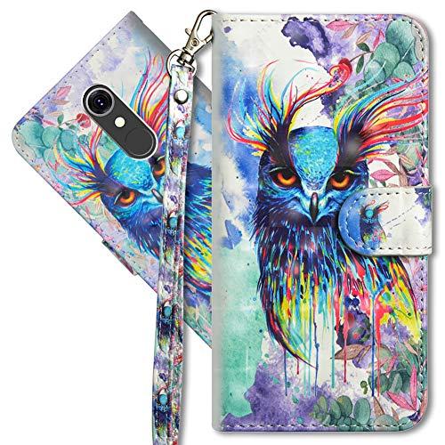 MRSTER LG Q7 Handytasche, Leder Schutzhülle Brieftasche Hülle Flip Hülle 3D Muster Cover mit Kartenfach Magnet Tasche Handyhüllen für LG Q7. YX 3D - Colorful Owl
