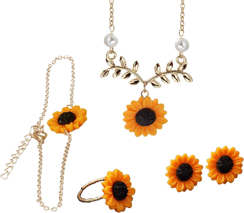 Flower Girl Jewelry Set,3/5Pcs Lady Sunflower Leaf Faux Pearl Charm Necklace Earrings Bracelet Ring Set
