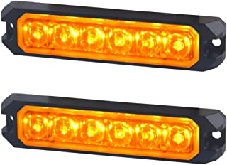 AT-HAIHAN Amber Warning Grill Light Head, IP67 Waterproof Surface Mounts Mini Strobe Light 6W 6 LEDs 18 Patterns for POV, Utility Vehicle, Construction Vehicle, Tow Truck Van (2 Pack)