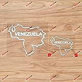 Venezuela Venezuelan Map Flag Outline Vinyl Decal Sticker - 2 Pack White, 3 Inches, 5 Inches - Die Cut No Background