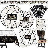 Lot de 177 Pièces de Fête Noir et Or Comprenant Bannière Assiettes Tasses Serviettes de Table Nappe Cuillère Fourchettes et Couteaux pour 25 Personnes