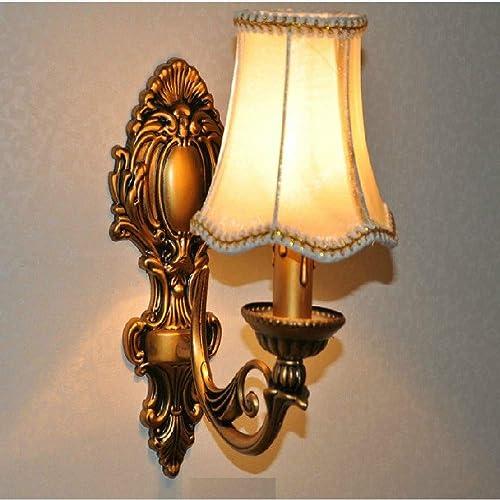 WOQUXIA Abat-Jour en Tissu Applique Murale Bronze tête Simple Chandelier Design Corridor de décoration LED E14 Ampoule éclairage