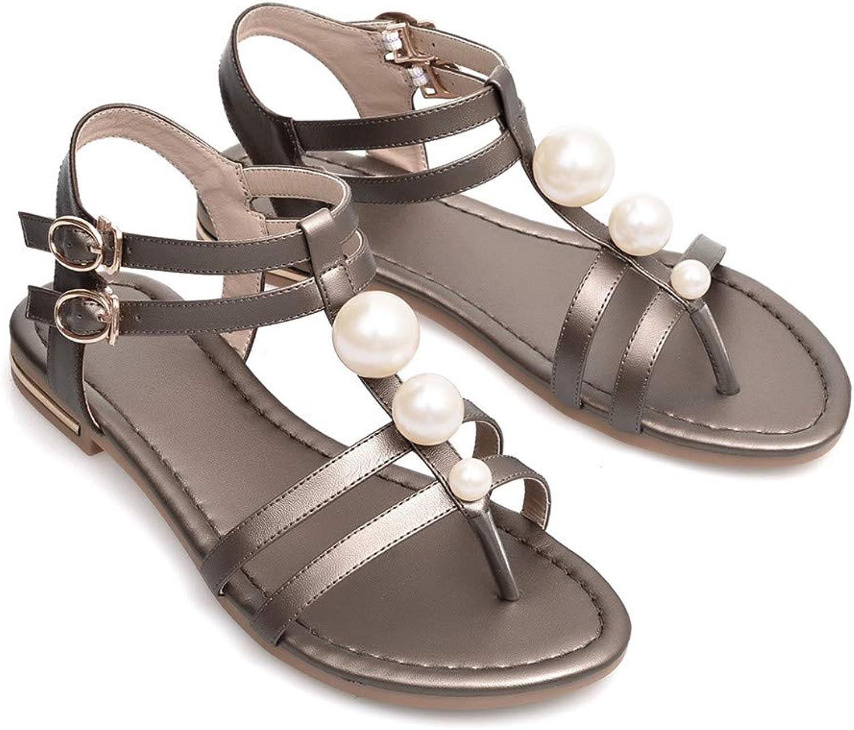 2019 Genuine Leather Women Sandals Fashion Summer Sweet Women Flats Heel Sandals Ladies