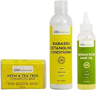 OBIA Naturals Neem Shampoo Bar 4oz + Babassu Detangling Conditioner 8oz + Argan Rose Hair Oil 4oz